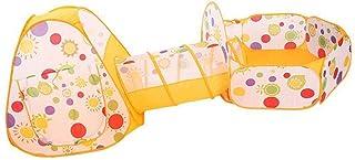 Heqianqian Baby tipi tält barnboll pool tält, solros, tredelad oceanboll pool leksak leksak för inomhus- och utomhusspel (...