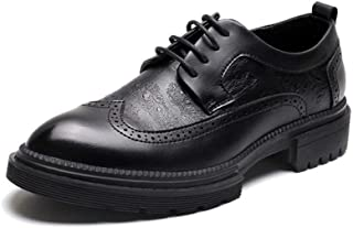 QinMei Zhou Retro Brogue Carving Oxfords for Men Business Causal Shoes Lace up Pointed Toe Wingtip Thick-Bottom Pull Tab Anti-Slip (Color : Black, Size : 7.5 UK)