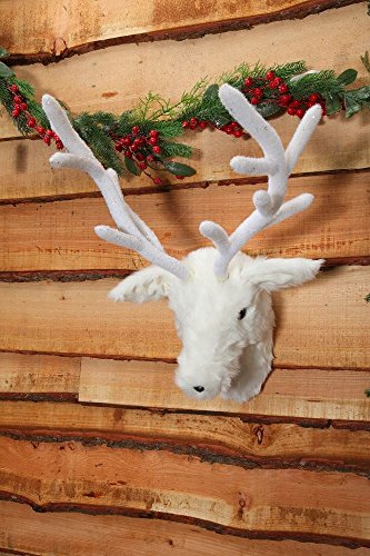 Noma White Fluffy Reindeer Head Wall Decor. 76cm in height
