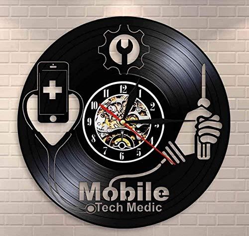 Equipo Inteligente Logotipo De Reparación De Hospitales Logotipo De Taller De Reparación De Teléfonos Móviles Arte De La Pared Teléfono Móvil Tecnología De Reloj De Pared Médico Militar Disco
