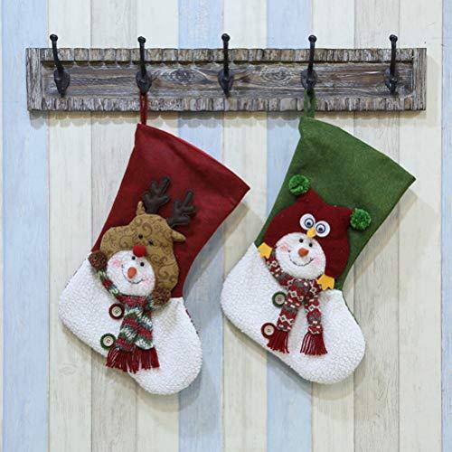 Surwin Calcetín De Navidad Bolsa De Regalo Medias Navidad Decoración, Colgante de árbol de Navidad Decoraciones para el hogar Adorno de Navidad Bolsa de Dulces (49x29cm,Calcetín De Navidad)