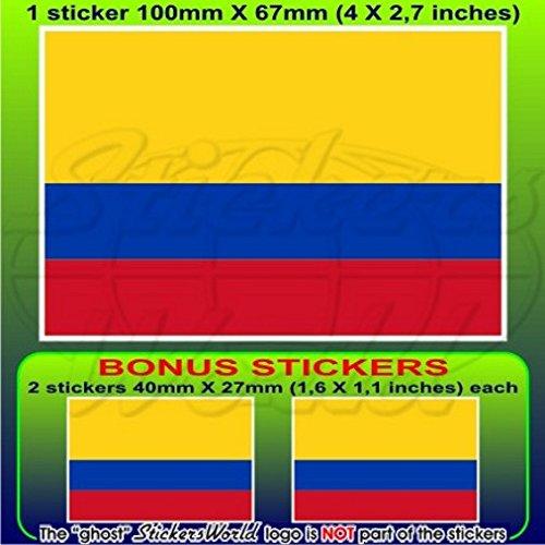 Colombie Drapeau Colombie Amérique du Sud 10,2 cm Bumper Sticker en vinyle (100 mm), en x1 + 2 Bonus