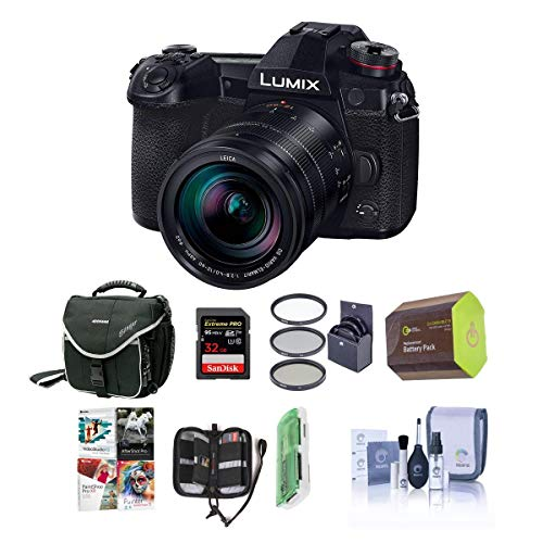 Panasonic Lumix G9 Mirrorless Camera, Black with Lumix G Leica DG Vario-Elmarit 12-60mm F/2.8-4.0 Lens - Bundle With 32GB SDHC...