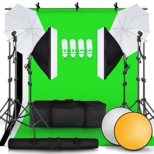 SH 2.6M x 3M 8.5ft x 10ft Background Support System and 4 x 85W 5500K Bulbs, Umbrellas Softbox Continuous Lighting Kit for Photo Studio Product,Portrait and Video Shoot Photography