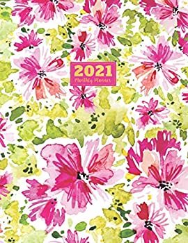 2021 Monthly Planner  2021 see it bigger Square planner | 12-Month Planner & Calendar with holiday Size  8.5  x 11    Jan 2021 - Dec 2021  For Your .. Vintage Pink Flower Watercolor design