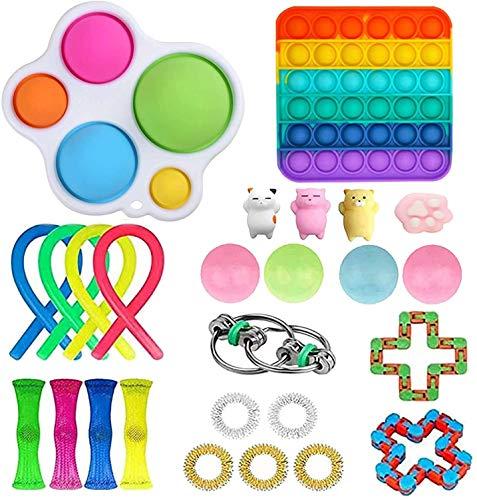 Juego de Juguetes sensoriales Fidget Toys, Juguetes sensoriales para Autismo, Juguetes antiestrés, Empujar un Frijol, Empujar Pop Pop Bubble, apretar Juguetes para niños y Adultos (I-26, A)