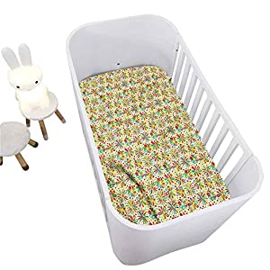 Hiiiman Floral Crib Fitted Sheet,Colorful Characters Decorative Microfiber Crib Sheet for Standard Crib and Toddler mattresses Nursery Bedding Sheet Crib Mattress Sheets for Boys and Girls,28″ x 52″