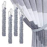 XunHe 4 fermatenda intrecciati per tende, fermatenda per tende, semplice e decorativo a mano, per accessori per tende da finestra, colore: grigio