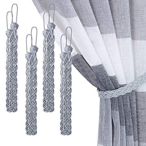 XunHe Lot de 4 embrasses de rideaux tressées - Simples - Décoratives à la main - Accessoires de rideau de fenêtre - Gris
