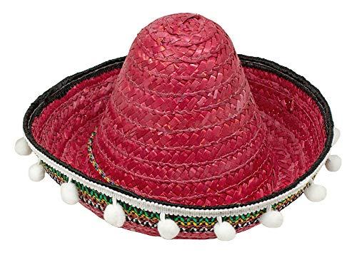 Mexikaner Sombrero mit Troddeln für Kinder - 25 cm / Rot - Zubehör Hut zum Mexiko Kostüm
