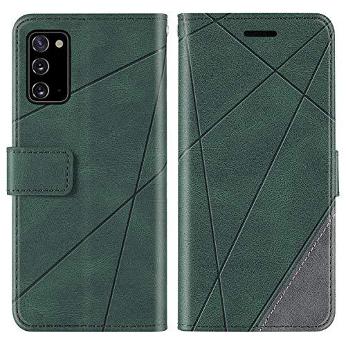 KKEIKO Hülle für Galaxy Note 20, Brieftasche PU Leder Schutzhülle Klapphülle Tasche mit Kartensteckplatz, Stoßfest TPU Hülle für Samsung Galaxy Note 20 - Grün