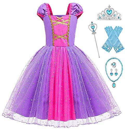 YOSICIL Disfraz Rapunzel Nia, Vestido Princesa Nia, Disfraz de Princesa,con Accesorios,para Holloween, Fiesta de Cosplay, Boda, Partido, Cumpleaos,Navidad