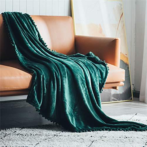 DEZENE Throw Blanket with Pom-poms, Cozy Soft Fuzzy Fleece Blanket for Couch Sofa Bed, Thickened Warm Fluffy Blanket, Plush Flannel Nap Blanket, 50 x 60 Inch, Dark Green