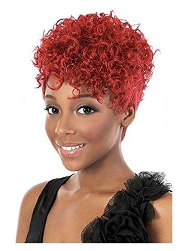 ahom (européen et américain mode cheveux courts perruque courte femelle vin rouge vif avec un bouclés Mode Star perruque bouclée