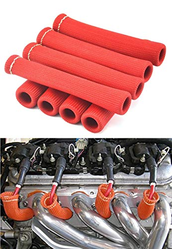 Spark Plug Protect Boot 1800 Degree Heat Shield Thermal Protection Insulator Sleeve Spark Plug Wire Boots 6 inch for Car Truck (Pack of 8)(Titanium) (Red)