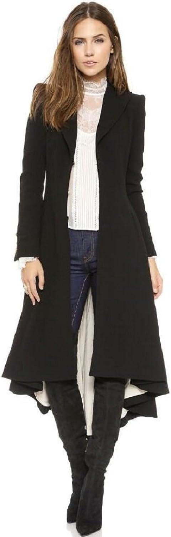 Lapel Suit Cufflinks fold after wool overcoat coat Women's Slim Long Dovetail TurnDown Collar Trench Coat Outwear
