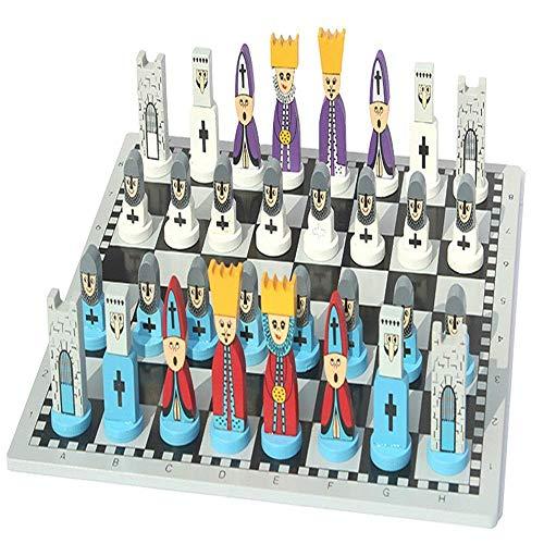 IG Diseño de Dibujos Animados de Juguetes de Ajedrez de Madera para Niños Competición de Abono,Azul,30X30X6Cm