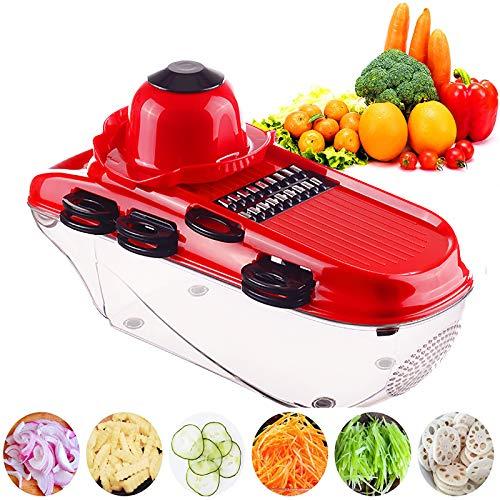 キッチン フードチョッパー Forにんにく じゃがいも トマト フルーツ,オニオンチョッパー マンドリンスライサー 多機能 カッター ダイサー と 7 刃 そして ハンドガード,野菜チョッパー-緑 32x12x11cm(12x5x4inch)