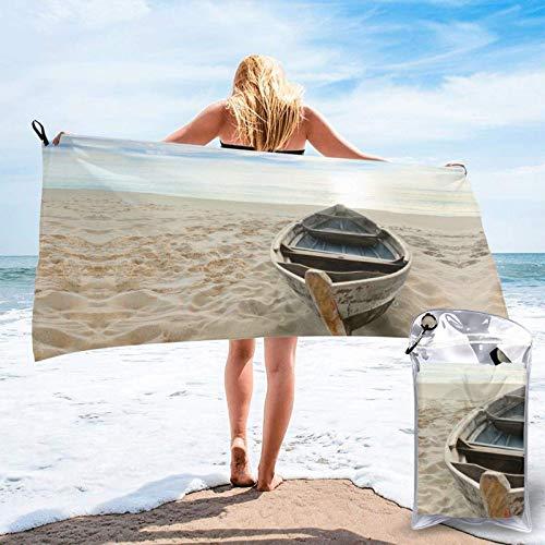 FLDONG Toalla de secado rápido para barco, playa, amanecer, hora náutica, impresión de microfibra, ultra suave, compacta, adecuada para camping, gimnasio, playa, hogar, 81.5 x 163 cm