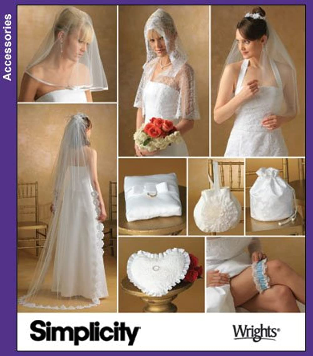 UNCUT & OOP SIMPLICITY 4216 BRIDAL ACCESSORIES VEILS, CAPELET, PURSE, BAG, PILLOWS & GARTER