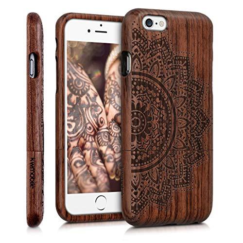 kwmobile Hülle kompatibel mit Apple iPhone 6 / 6S - Handy Schutzhülle aus Holz - Cover Case Handyhülle Halbblume Dunkelbraun