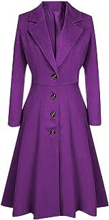 vkjany Women Woolen Coats Winter Winter Lapel Button Long Trench Coat Jacket Ladies Parka Overcoat Outwear