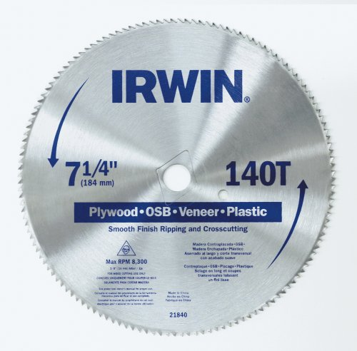 IRWIN Tools Classic Series Steel Corded Circular Saw Blade, 7 1/4-inch, 140T, .087-inch Kerf (21840ZR)