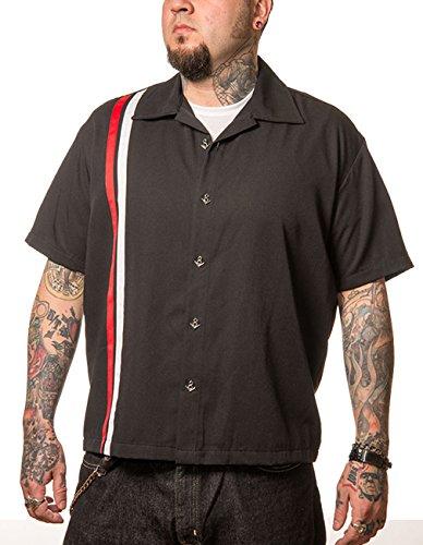 Steady Clothing Herren Vintage Bowling Hemd - V-8 Racer Bowling Shirt Schwarz L