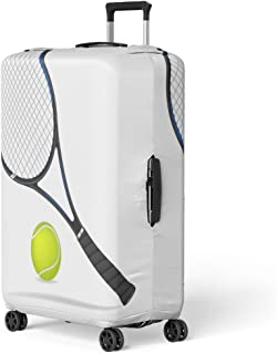 Pinbeam Luggage Cover Blue Accessory Tennis Racket and Ball Green Activity Travel Suitcase Cover Protector Baggage Case Fits 26-28 inches