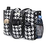 TOPDesign Utility Water Resistant Tote Bag with 13 Exterior & Interior Pockets, Top Zipper Closure & Thick Bottom Support, for Working Women, Teachers, Nurses, Accountants (Houndstooth)