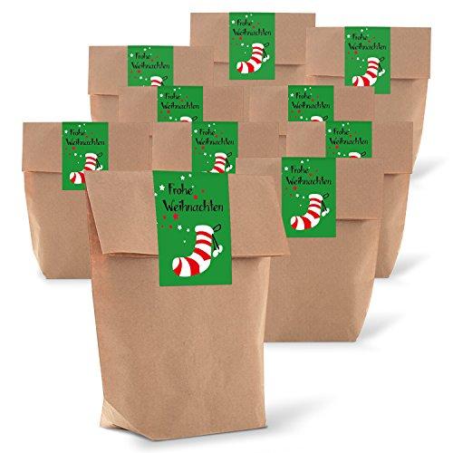 10 braune Geschenktüten zu Weihnachten mit Boden 14 x 22 x 5,6 cm Kraft-Papier-Tüten + 10 Weihnachts-Aufkleber Sticker FROHE WEIHNACHTEN Nikolaus-Strumpf grün rot Verpackung Geschenke give-away Kunden