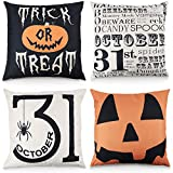 FUNARTY Set of 4 Halloween Throw Pillow Covers Trick or Treat Pumpkin Cotton Linen Home Decor Cushion Case for Sofa 18x18 Inch