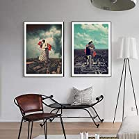 愛の映画恋人一緒にキス絵壁ポスターモダンスタイルキャンバスプリント絵画アートアイルリビングルームユニークな装飾50x70cm-フレームなし