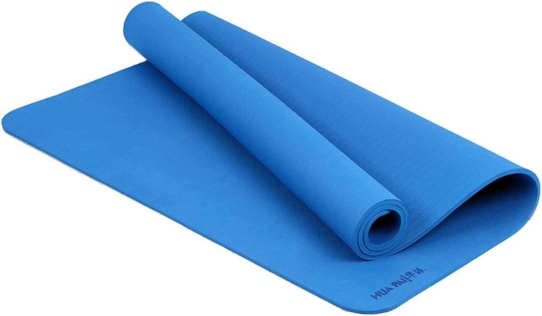 LINrxl 家の体操の試しを伸ばすピラティスのための大きいヨガのマット、特別に厚い非スリップの反破損の練習のマット/ 72x48インチ (Color : 青)