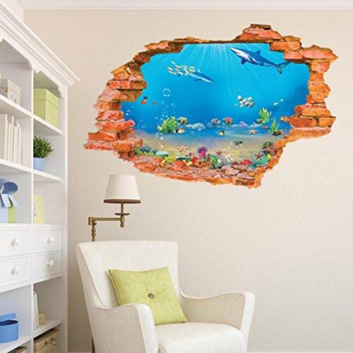 AUVS® 3D- Selbstklebende Abnehmbaren Durchbrechen Die Mauer Vinyl Wandsticker/Wandgemälde Kunst Aufkleber Dekorateur (8001I Aquarium (60 * 90cm))