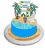 CakeSupplyShop Retirement Cake Topper with Adirondack Chair, Beach Bucket, Palm Trees and Retirement Sign Fish Flip Flop Cake Decoration Kit