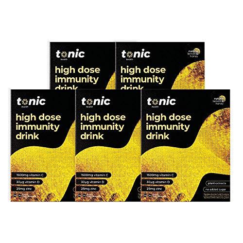 Tonic HIGH-DOSE Day Vitamin Drink x5 Packs = 50 doses. Honey & Lemon MAX Strength Immune Support. Vitamin C 1500mg, Vitamin D 30ug, Zinc 25mg. Vegetarian high Impact Immune System Vitamin Drink