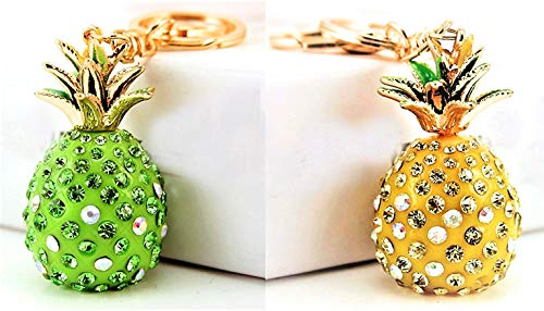 Set of 2 of Beautifully designed 3D Pineapple Crystal Rhinestone Keychain Handbag Tote Bag Gold Key Pendant Charm Perfect Gift for valentines'Day and all Occasions