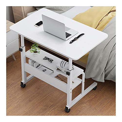 Laptop Desk Cart Mobile Laptop Table Sofa Side Laptop Notebook Desk PC Stand Height Adjustable, Portable And Sturdy Computer side table (Color : White B, Size : 60x40cm)