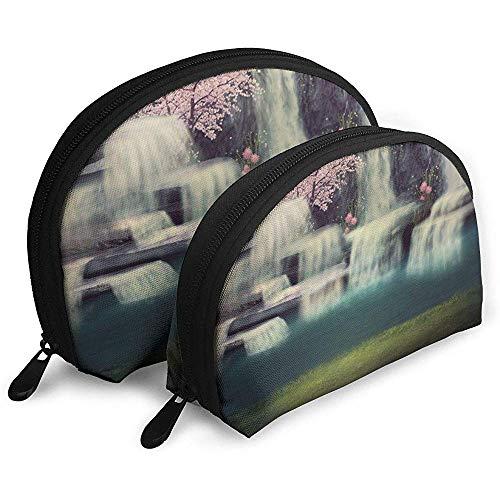 Wasserfall Pink Tree Lake Tragbare Taschen Kosmetiktasche Kulturbeutel, tragbare Multifunktions-Reisetaschen Kleine Make-up-Clutch-Tasche mit Reißverschluss