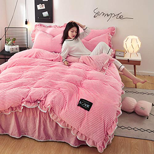 RESUXI teddy fleece duvet set double teal,Winter padded warm princess style double-sided velvet duvet cover bed skirt pillowcase-J_2.0m bed 4 pieces