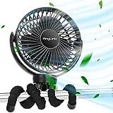 AngLink 5000 mAh Ventilador USB con Trípode, 40 Horas Portatil Recargable Ventilador Clip 3 Modo de Velocidad 360°Ajustable para de Entrenamiento de Cochecito de bebé Autocaravana Oficina en Casa