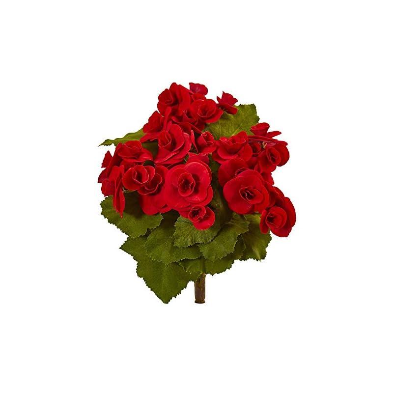 "silk flower arrangements nearly natural 2286-s4-rd 11"" begonia bush artificial (set of 4) silk flowers red"