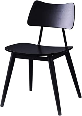 LRZS-Furniture Dining Chair Solid Wood Chair Wrought Iron Modern Minimalist Cafe Tea Shop Dessert Shop Table and Chair Combination Home Curved Wood Chair (Color : Black)