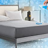 Rywell Queen Size Cooling Mattress Protector Waterproof, Arc-Chill Cool Touch Fabric, Breathable Hypo-Allergenic Bed Mattress Cover Fitted Sheet Style, 14''-18'' Deep Pocket, Vinyl Free - Grey
