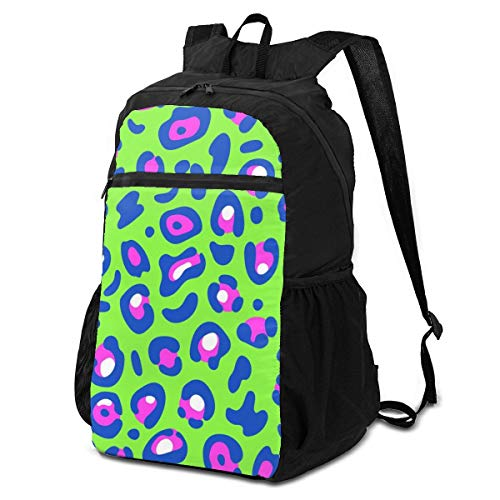 best& Packable Backpack Leopard Fur Print Trendy Neon Colorful Men Perfectly Laptop Daypacks for Travel Womens Hiking Daypack Lightweight Waterproof for Men & Womentravel Camping Outdoor