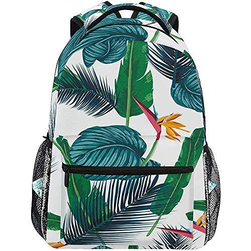 Precious Meet Tropische Palmblätter Rucksäcke Paradiesvogel Pflanzen Laptop Schultasche Freizeitrucksack Leichter Reisesport