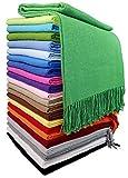 STTS International Baumwolldecke Wohndecke Kuscheldecke Tagesdecke 100prozent Baumwolle 140 x 170 cm sehr weiches Plaid Rio (Grün)