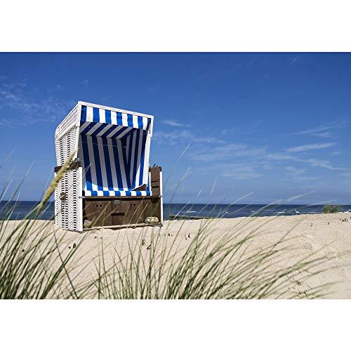 Vlies Fototapete 416x254cm PREMIUM PLUS Wand Foto Tapete Wand Bild Vliestapete - Strand Tapete Meer Gras Strandkorb Ostsee Himmel blau - no. 2831