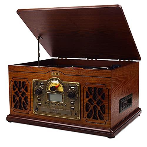 KOSHSH Reproductor Discos 11 en 1 Bluetooth Altavoces, Tocadiscos Compatible Conector para Auriculares 33/45/78 RPM Velocidad, Salida Audio RCA y Entrada Audio AUX, Adornos Regalo Retro Vintage